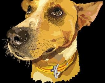 Yellow Dog HAND DRAWN design for printing
