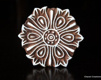 Pottery Stamps, Indian Wood Stamp, Textile Stamp, Wood Blocks, Tjaps, Printing Stamp- Flower