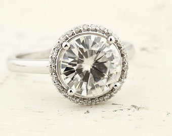 2.50ct  9mm  Forever Brilliant Moissanite Solid 14K White Gold  Halo-Styled  Engagement  Ring Gem966