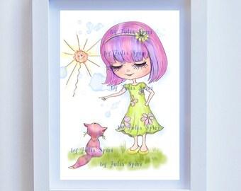 Children Decor, Children's Print, Kids Decor, Childrens Wall Art, Girl Room Picture, Girl art print Children Poster Nursery wall art. Kitten
