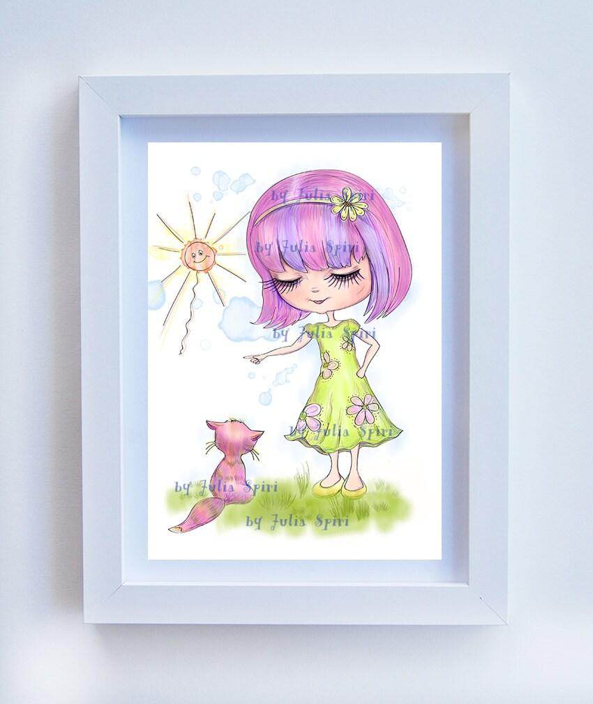 Ilustración descargable Decoración para niña Cuadros para