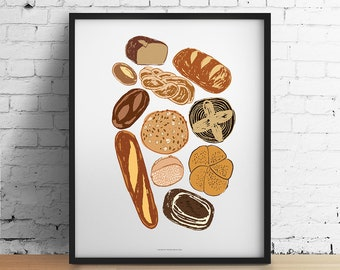Bakery Art Print, Bakery Decor, Bread Print, Food Poster, Bakery Wall Decor, Kitchen Decor, Kitchen Wall Decor, Food Art Poster, Foodie Gift