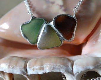 Sea Glass Trio Pendant with Green Sea Glass and Brown Sea Glass