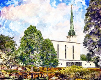 London, England LDS Temple Abstract Watercolor