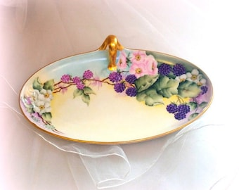 1900s Antique Tray - LIMOGES FRANCE - Wm Guerin & Co - Hand-Painted Porcelain - Dogwood / Berries - Gold Gilt Handle