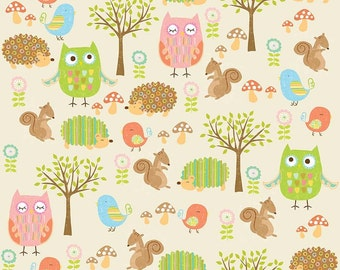 Splat splash Mat, Art Mat or Table Cloth for highchair or table, Owl & Co, owls, hedgehogs, squirrels on cream, laminated cotton BPA Free