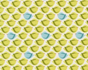 Bird Fabric - Heaven & Helsinki Puffy Bird by Patty Young for Michael Miller Fabrics DC5595 Green - priced by the 1/2 yard