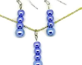 Blue Glass Pearl Beaded Jewelry Set