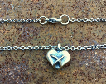 Silver Heart Pendant by URBINA DESIGNS - Stitched Heart Series no. 1