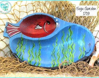Pufferfish (Fugu) Handpainted Trinket Bowl, *aqua blue, green, red* #1719