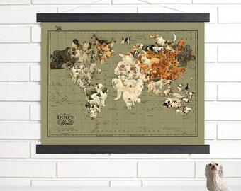vintage map art dogs world wood bound canvas canine world map art