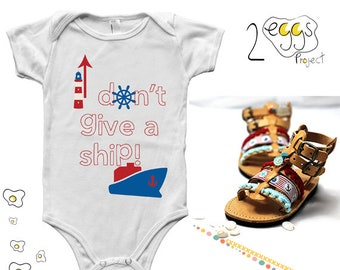 Nautical baby outfit – Summer baby onesie with quote funny I don't give a ship and nautical items graphic and gladiator sandals for baby boy