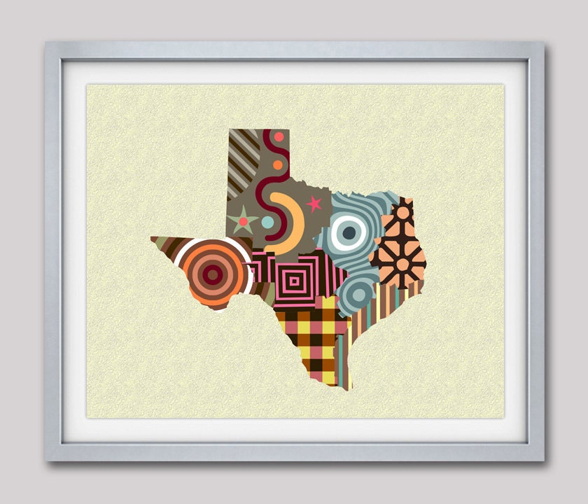 Texas Map Art Print, Texas Wall Decor, Texas Wall Art Poster, Texas  Painting, Texas Gifts, State Of Texas, State Map Art