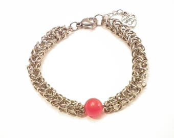 Queens Chain Red Jade Viking chainmaille bracelet