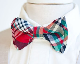 Bow Tie, Mens Bow Tie, Bowtie, Bowties, Bow Ties, Groomsmen Bow Ties, Wedding Bowties, Christmas Bow Tie, Ties - Red, Navy, Green Plaid
