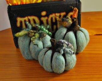 Felted Pumpkins, Set of Three, Needle Felted, OOAK