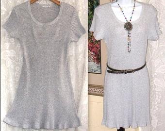 Vintage Mini Dress - Grey Knit Ribbed  Dress - Short Sleeve Scooped Neck - Nineties