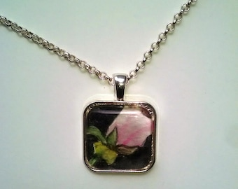 OOAK Watercolor Pendant - Pink Rose Necklace Gift for Her