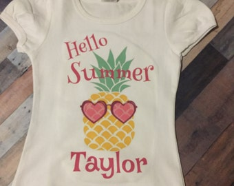 Girls personalized pineapple with sunglasses  shirt, toddler customized summer shirt, infant personalized pineapple with sunglasses shirt,