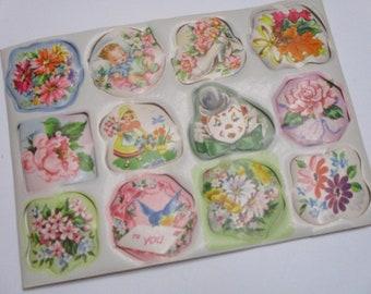 Vintage Gift Wrap Seals-Baby-Children-Shower-Pastels-Retro-Mid Century-1 Sheet-12 seals