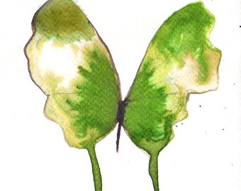 bright grass green butterfly with gold wings. original watercolour painting