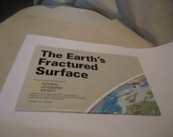 Vintage 1995 National Geographic Map The Earth's Fractured Surface, collectable