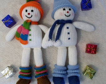 Toy doll knitting pattern. Christmas decoration Knitting Pattern. Snowy the Snowman. PDF instant download toy knitting pattern.