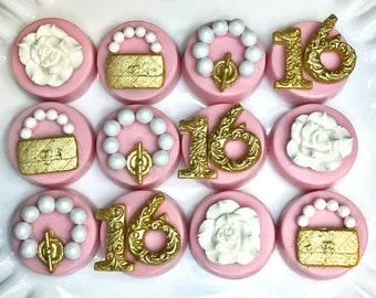 Sweet Sixteen Chocolate Covered Oreos, Purse, flower, Pink