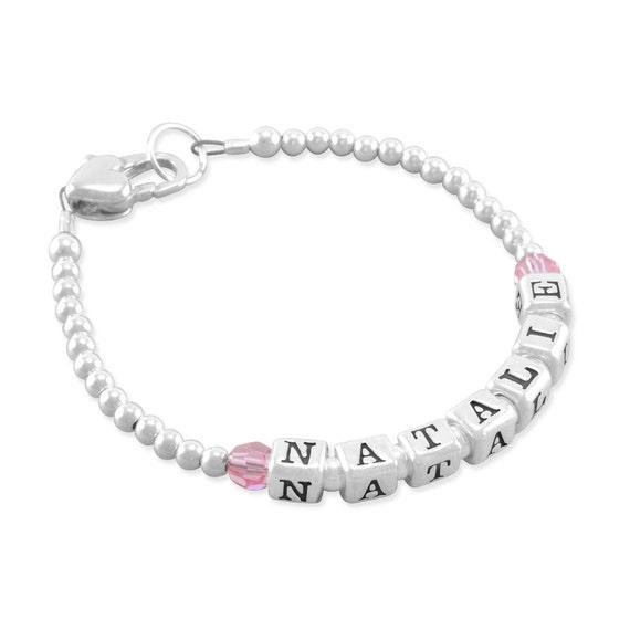 Name Bracelet Sterling Silver Newborn Girl Bracelets Baby