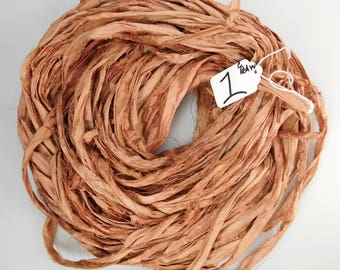 Sari silk Ribbon, Recycled Silk Sari Ribbon, Redwood sari ribbon, brown silk sari ribbon, weaving supply, knitting supply, jewelry supply
