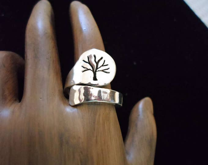 tree of life spoon ring med length adjustable