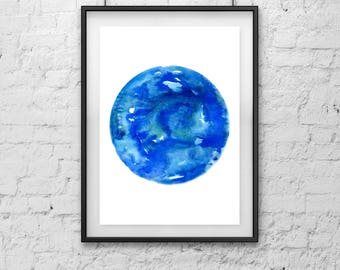 Physical Print /// Circle Bright Blue Watercolor