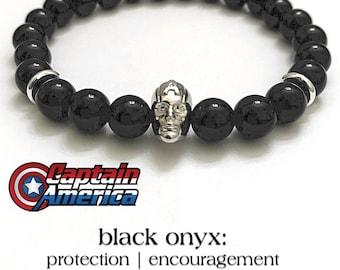 CAPTAIN AMERICA Bracelets, Marvel Comics Avengers, Steve Rogers, Superhero Jewelry, CosPlay Bracelets, Gifts For Him, Comic-Con Bracelets,