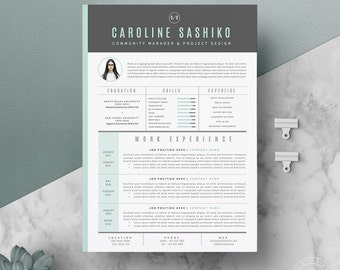 "Resume Template / CV Template + Cover Letter for Word ( 4 page pack + 66 icons) | Instant Digital Download | The ""iNova"""