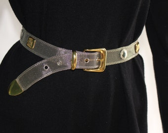 "Vintage Women's Metal Belt (looks like gold and silver) - Size SMALL or 26"" Waist"