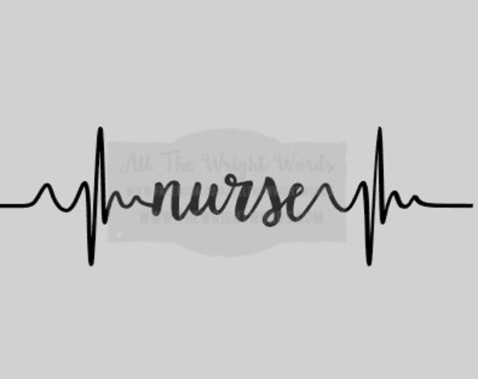 "FREE SHIPPING //  8x2.28"" Nurse Heartbeat Vinyl Decal - Great For Water Bottles - Custom - Laptop Decal  - Hospital - Nurse - CNA - rn"