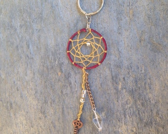 Cranberry and Lime Skeleton Key Dream Catcher Keychain - gift for her, stocking stuffer