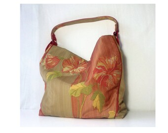 women shoulder tote bag in cotton fabric and Italian Lampas with floral fabric, handmade gift for her, made in italy
