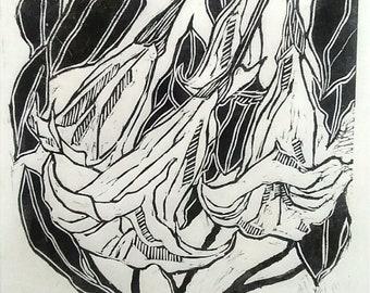Angel Trumpet Flower  Linocut Print