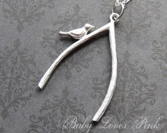 Wishbone with Bird Necklace  (R4B-B3)