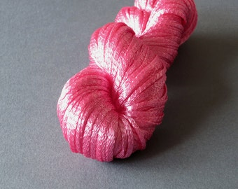 Chilean Viscose Knitted Ribbon Yarn - Pink 30gm (1 oz) hank