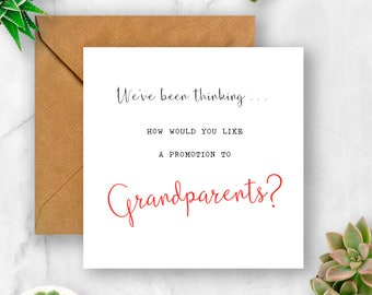 We've Been Thinking... How Would You Like a Promotion to Grandparents Pregnancy Announcement Card, We're Pregnant, Having A Baby