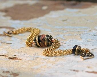 bracelet Lampwork, Glass bracelet , artisan lampwork bead 3D, bracelet Lampwork Aquarium,orang, brass with gold plating,floral bracelet, red