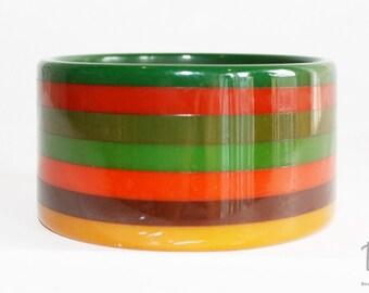 1990s Wide Layered Striped Multicolor Bakelite Bangle   90s Vintage Bakelite Bangle Bracelet