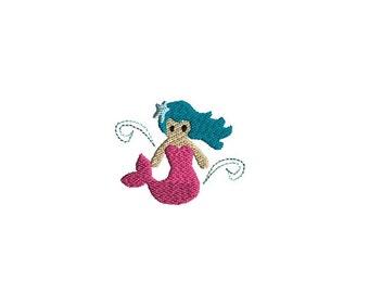 Mini Mermaid Machine Embroidery Design-INSTANT DOWNLOAD