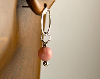 Rhodosite earrings, sterling silver drop stud earrings with rhodosite beads