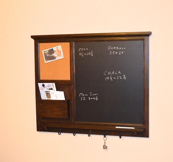 "Chalkboard Mail Organizer - 35"" x 29"" Large Chalkboard & cork board with letter holder  Key / Coat / Hat rack - RusTic - Home Decor"