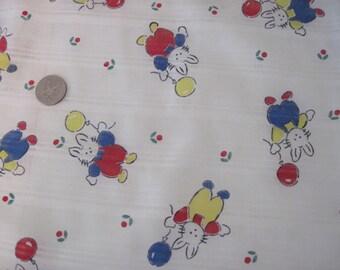 Vintage Child/Baby/Nursery Bunny Print Fabric c1970's shabby Decor, Nursery Decor, Vintage Children's fashion