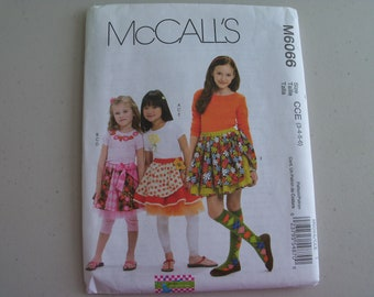 McCalls 6066 Girl's Skirts Leggings and Appliques Sizes 3-6 NEW