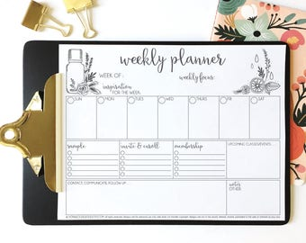 PRINTABLE essential oil weekly planner - essential oil business planner - small business to do list - hand illustrated - organizer - to do